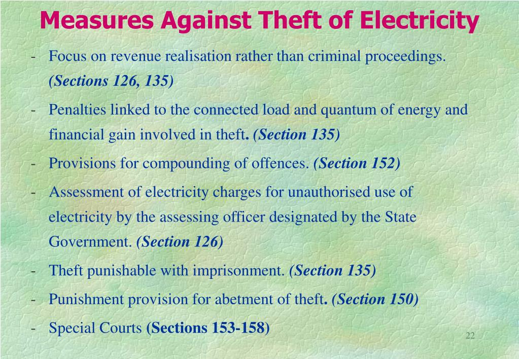 Measures Against Theft of Electricity