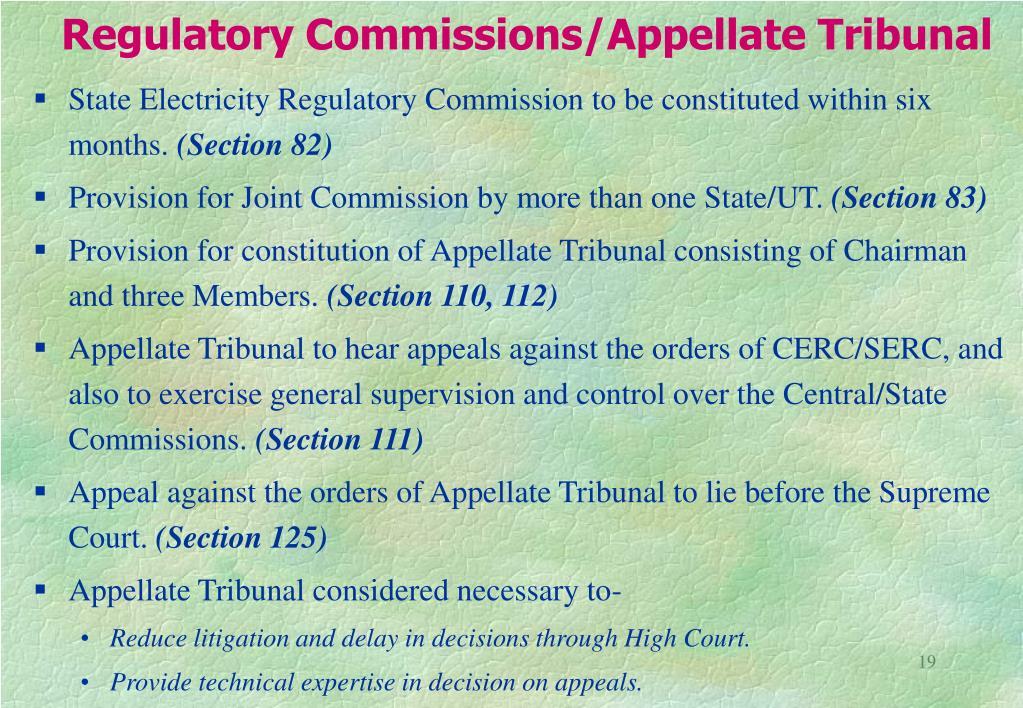 Regulatory Commissions/Appellate Tribunal