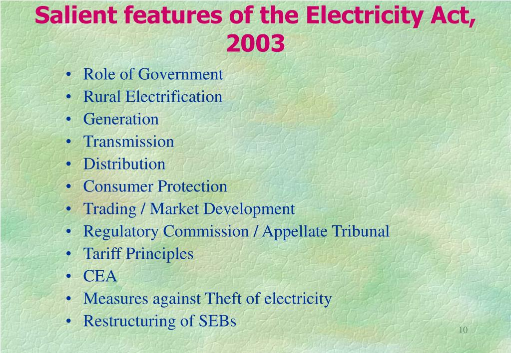 Salient features of the Electricity Act, 2003