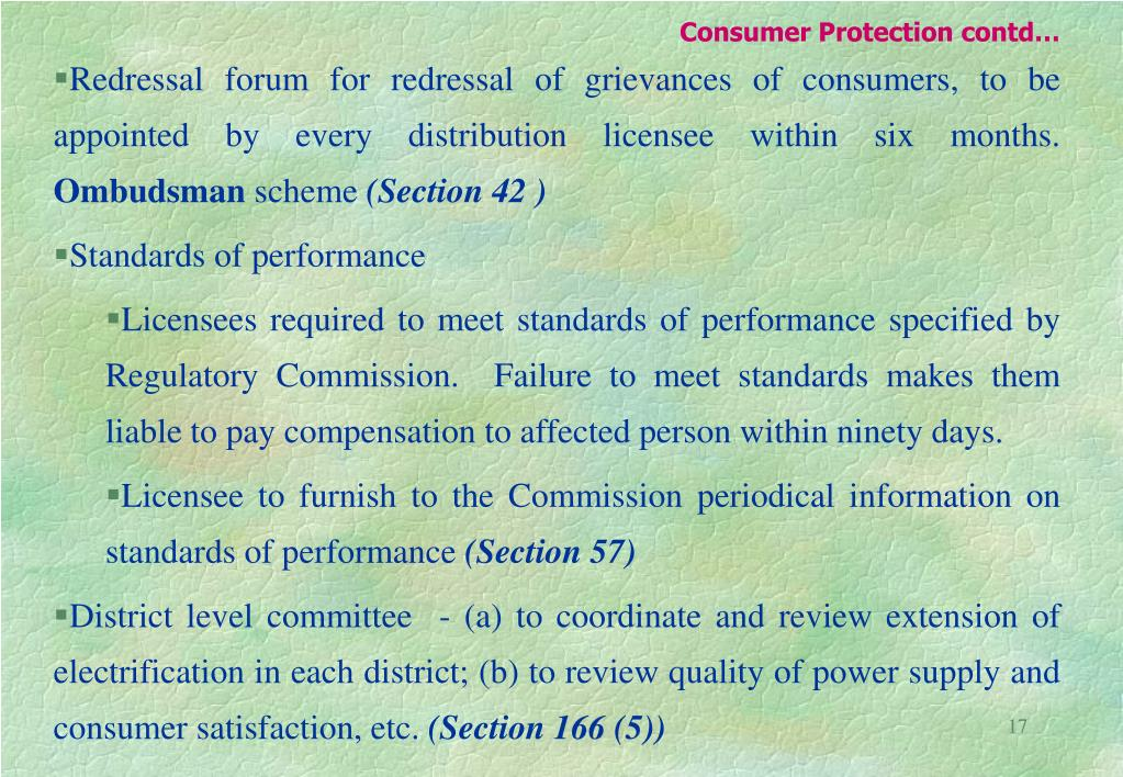 Consumer Protection contd…