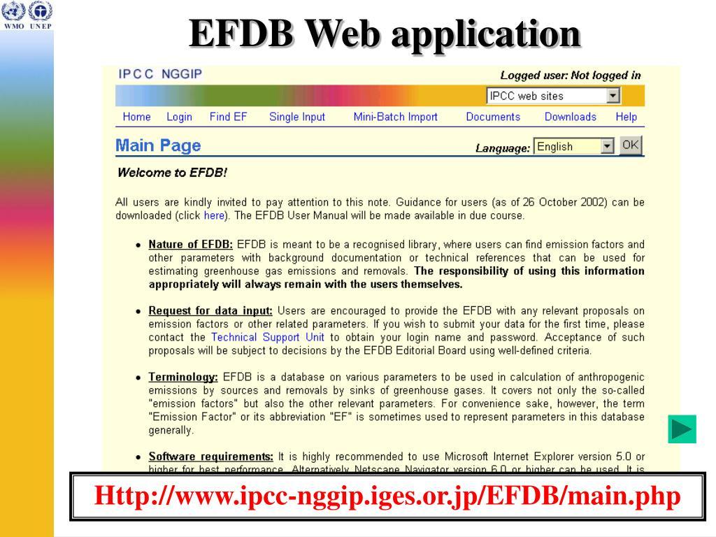 EFDB Web application