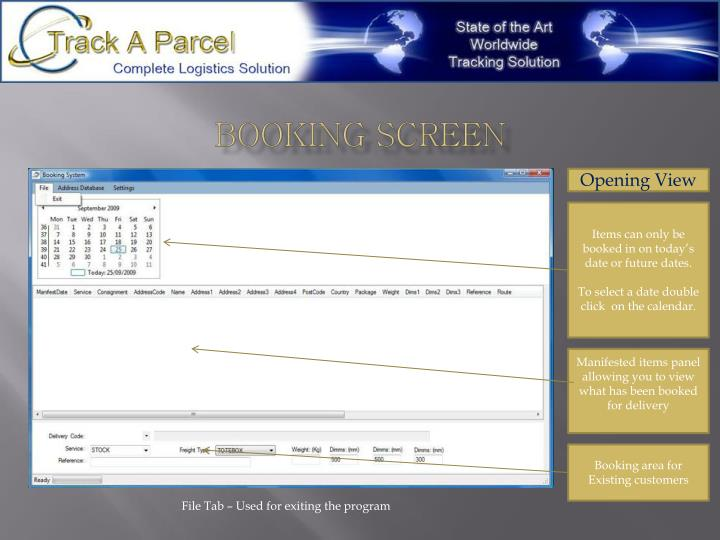 Booking screen