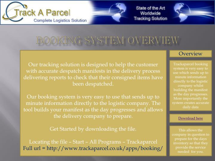 Booking system overview