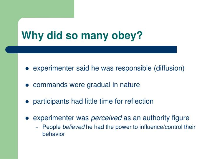 Why did so many obey?
