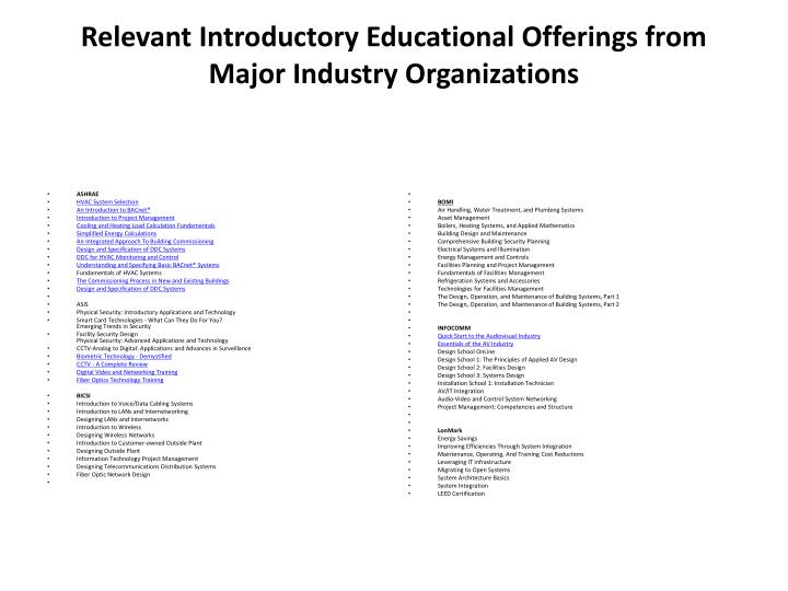 Relevant Introductory Educational Offerings from