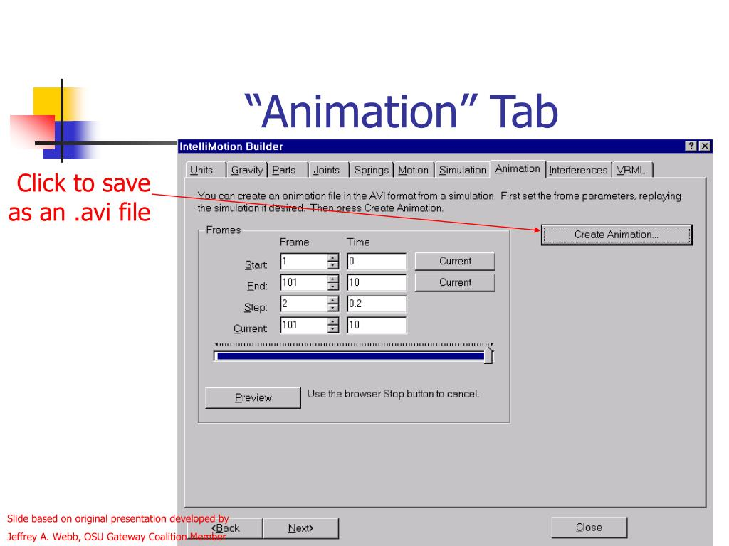 """Animation"" Tab"