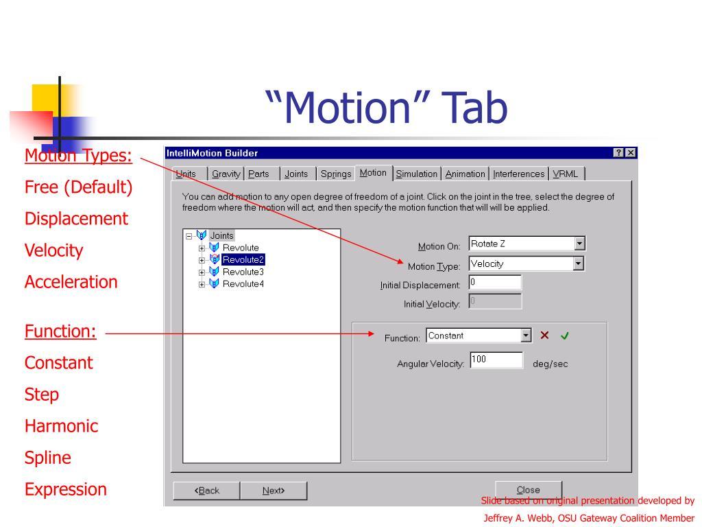 """""""Motion"""" Tab"""