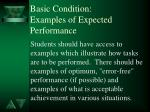 basic condition examples of expected performance
