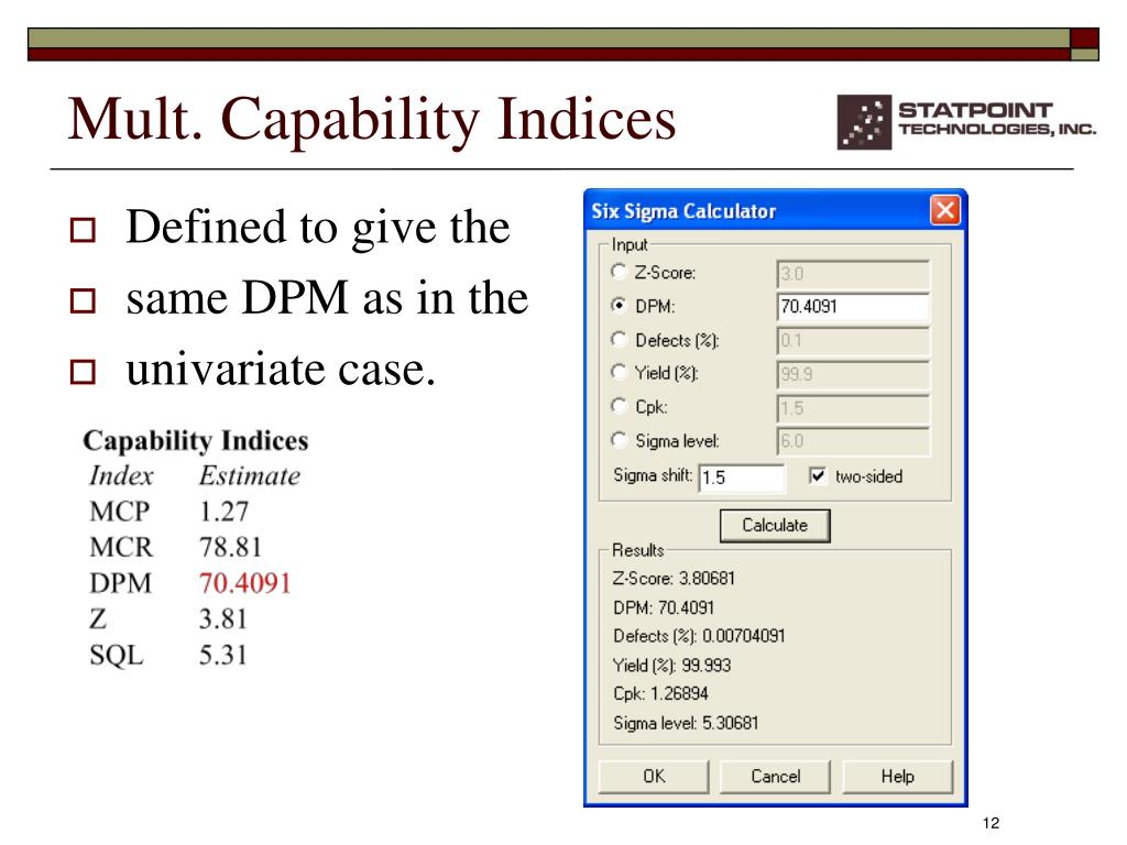 PPT - Statistical Tools for Multivariate Six Sigma