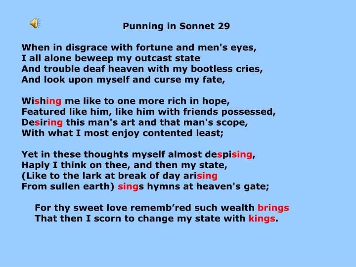 Punning in Sonnet 29