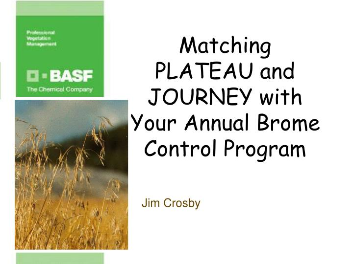 Matching plateau and journey with your annual brome control program