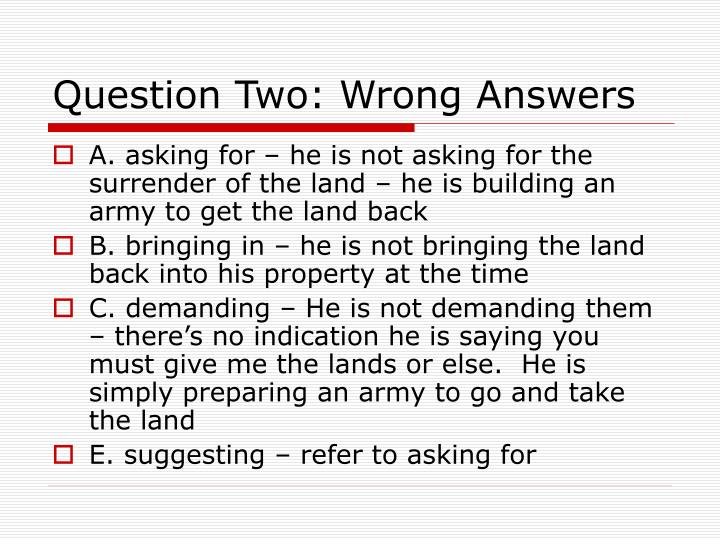 Question Two: Wrong Answers