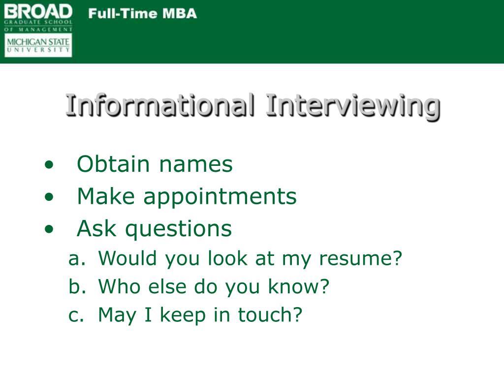 Informational Interviewing