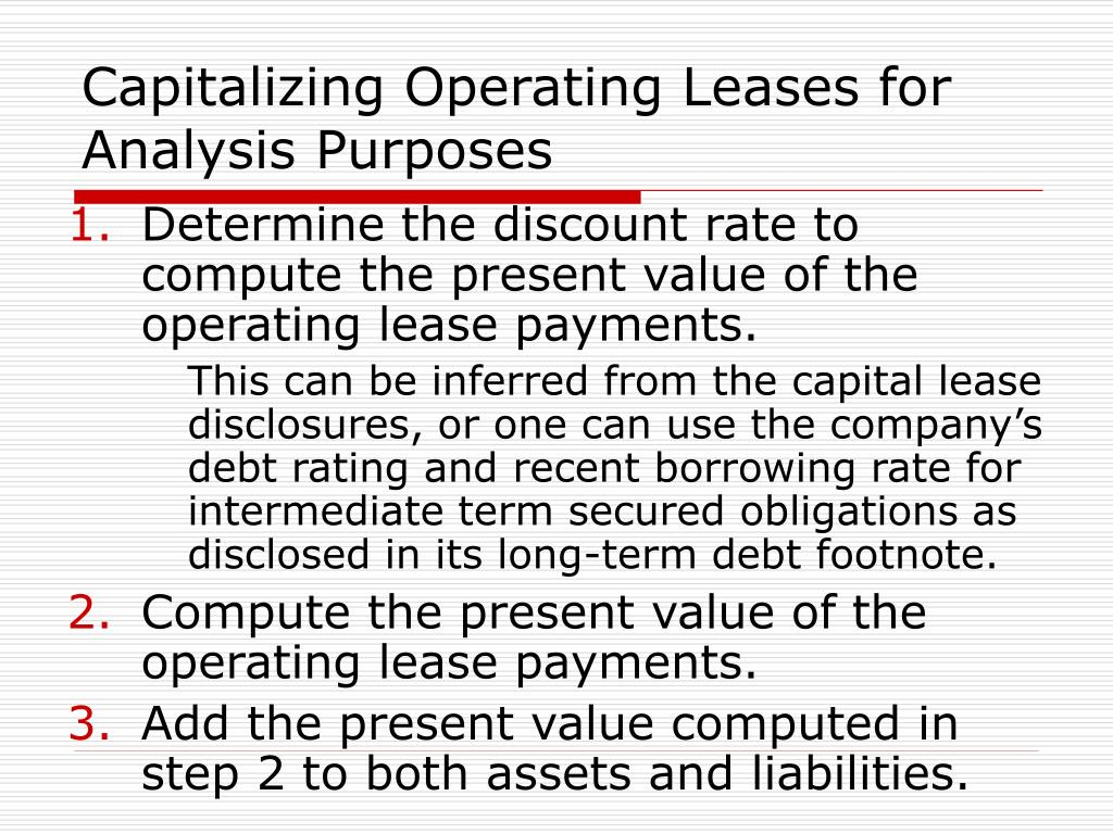 Capitalizing Operating Leases for Analysis Purposes