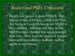 justice and pgd criticisms