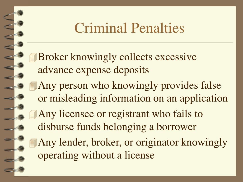 Criminal Penalties