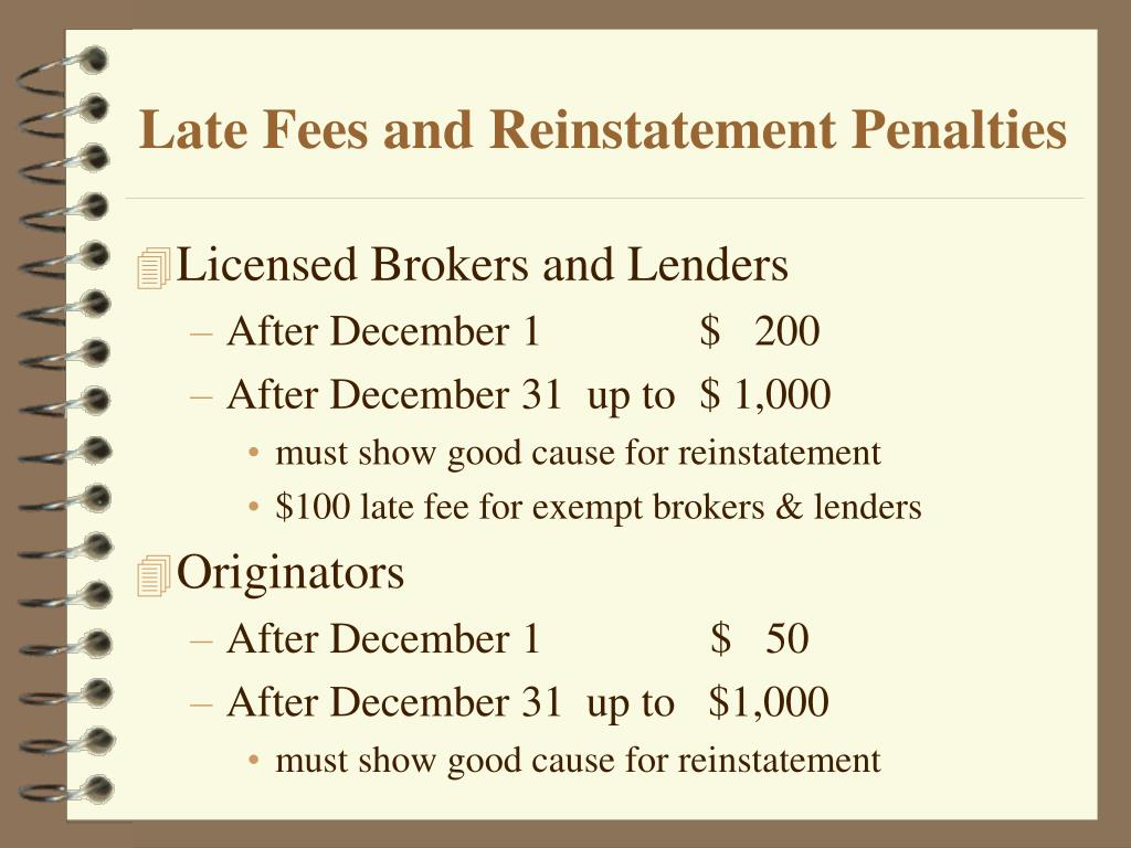 Late Fees and Reinstatement Penalties