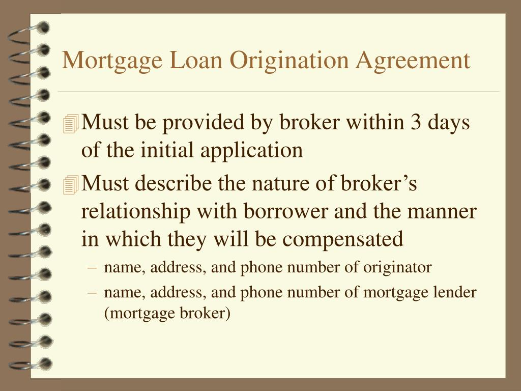 Mortgage Loan Origination Agreement