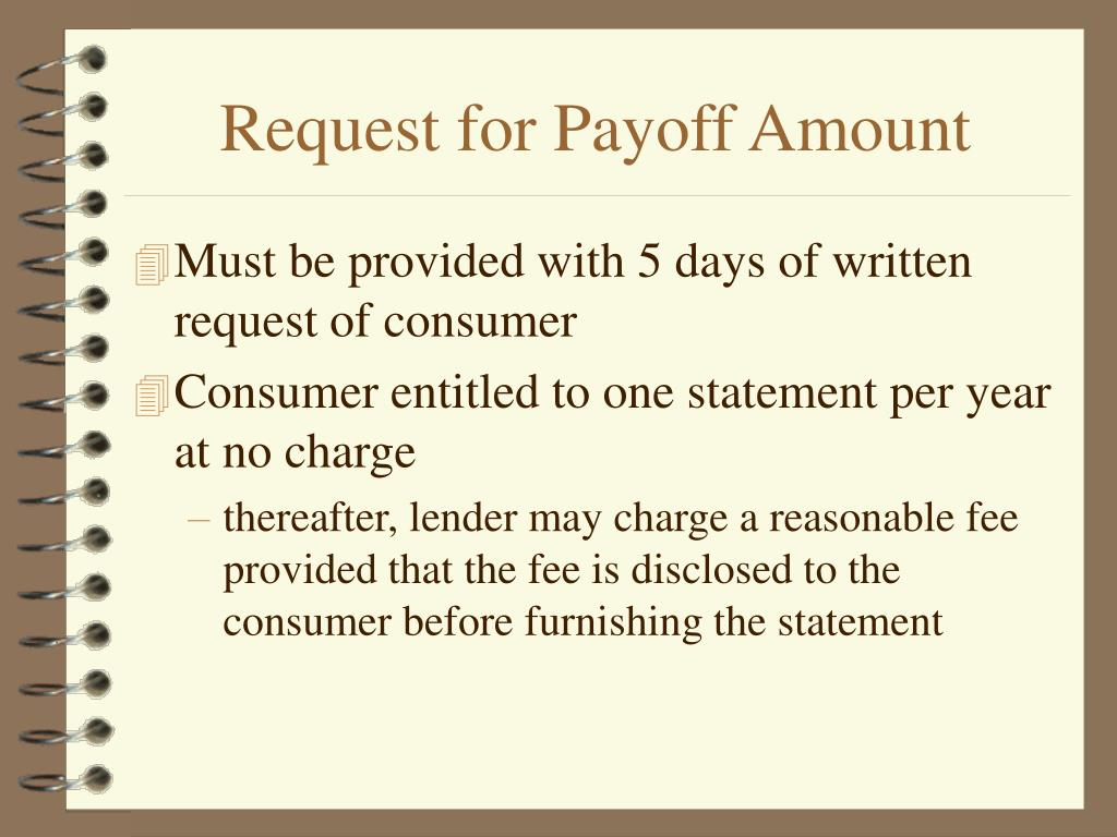 Request for Payoff Amount