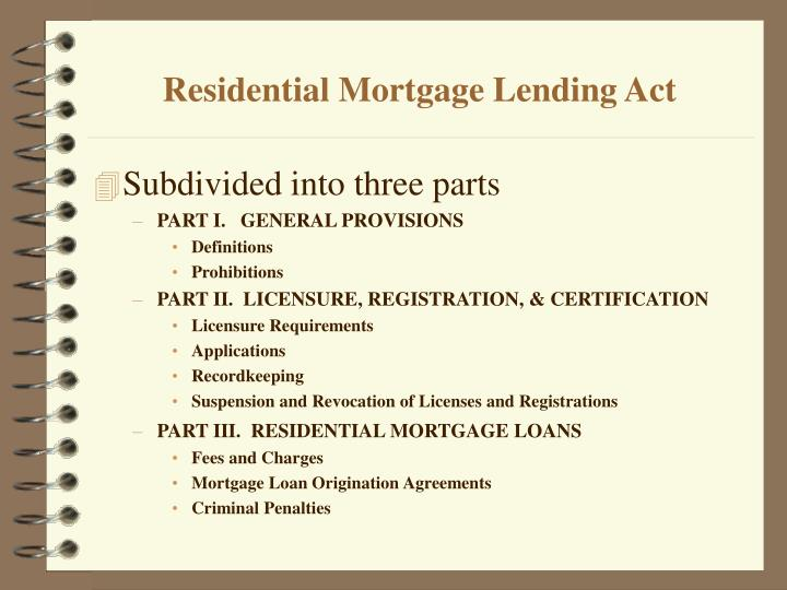 Residential mortgage lending act2