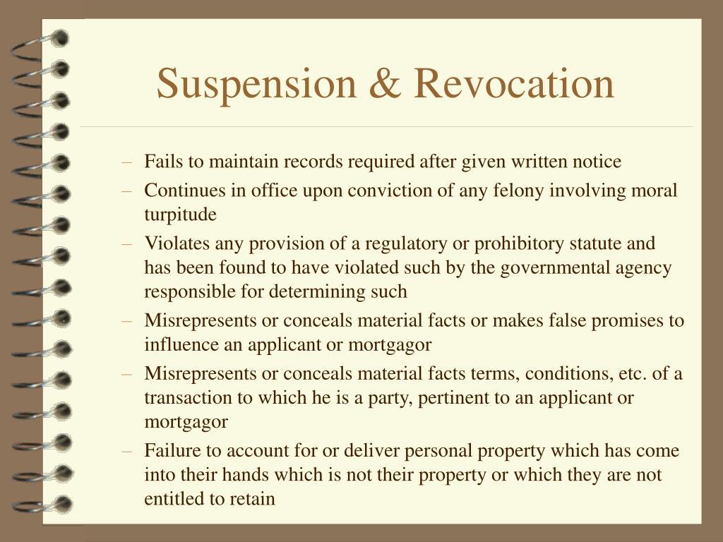 Suspension & Revocation