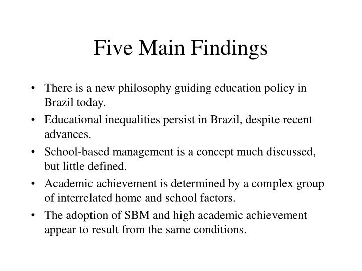 Five Main Findings
