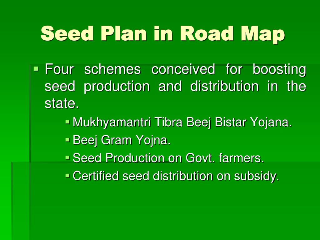 Seed Plan in Road Map