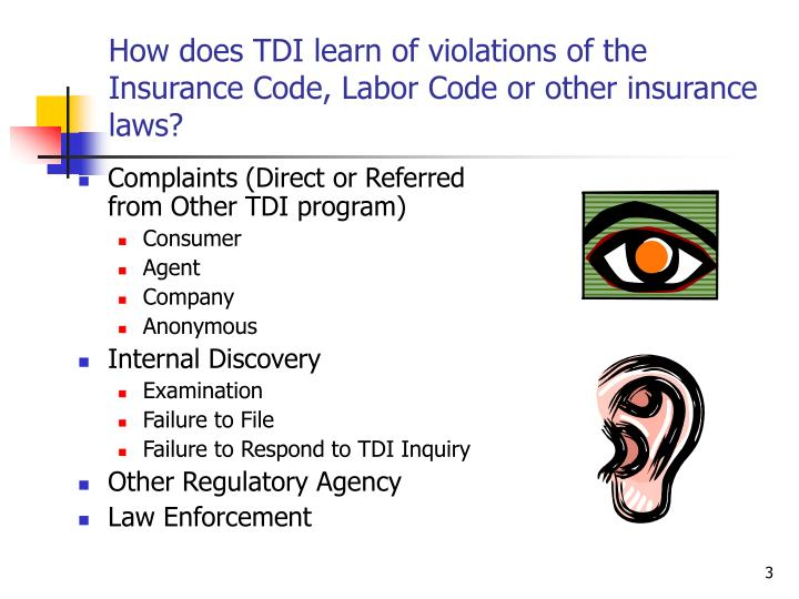 How does tdi learn of violations of the insurance code labor code or other insurance laws
