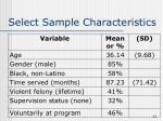 select sample characteristics