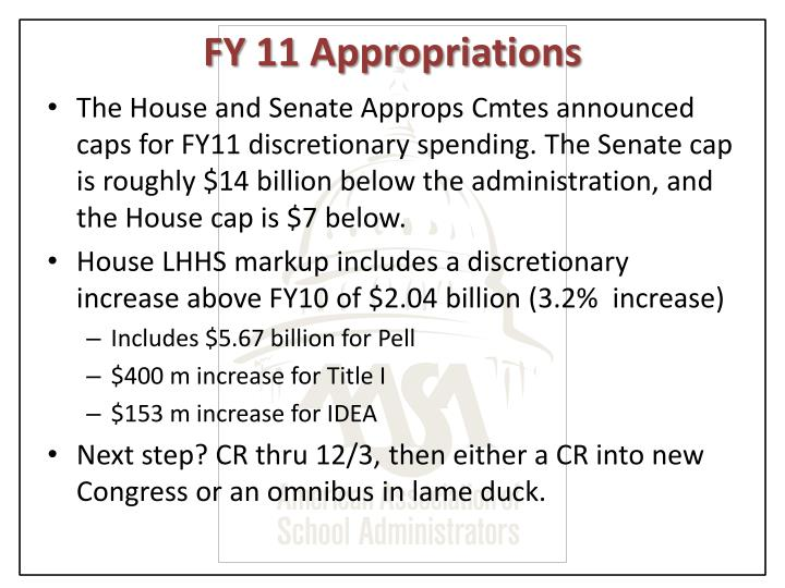 FY 11 Appropriations