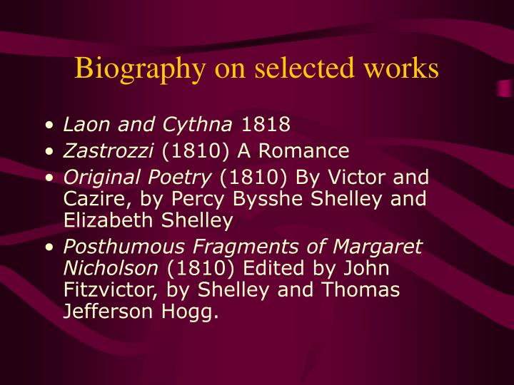 Biography on selected works
