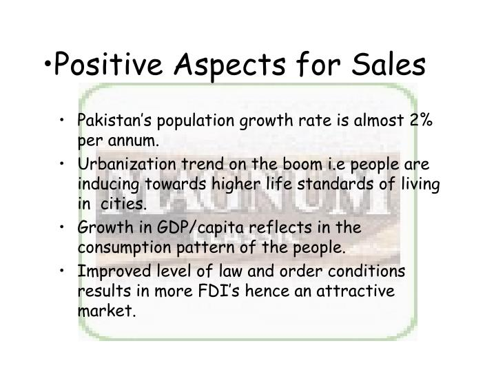 Positive Aspects for Sales