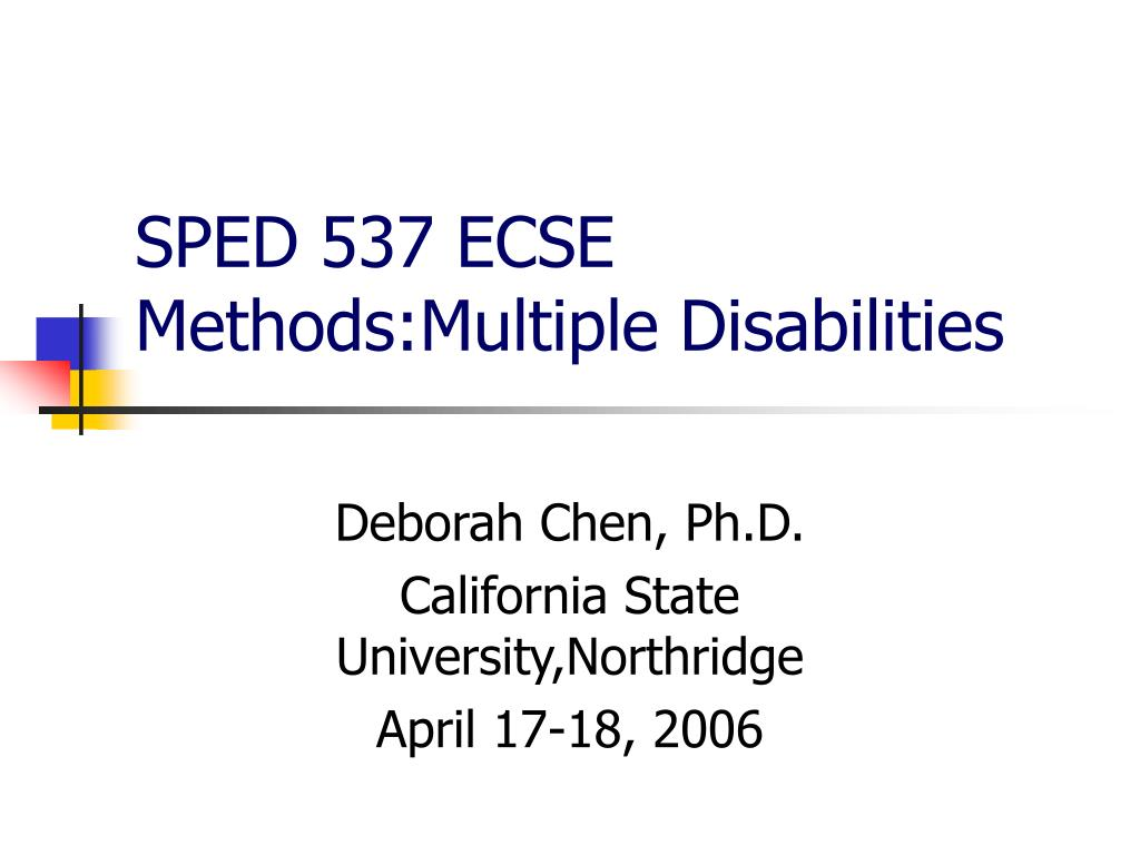 sped 537 ecse methods multiple disabilities