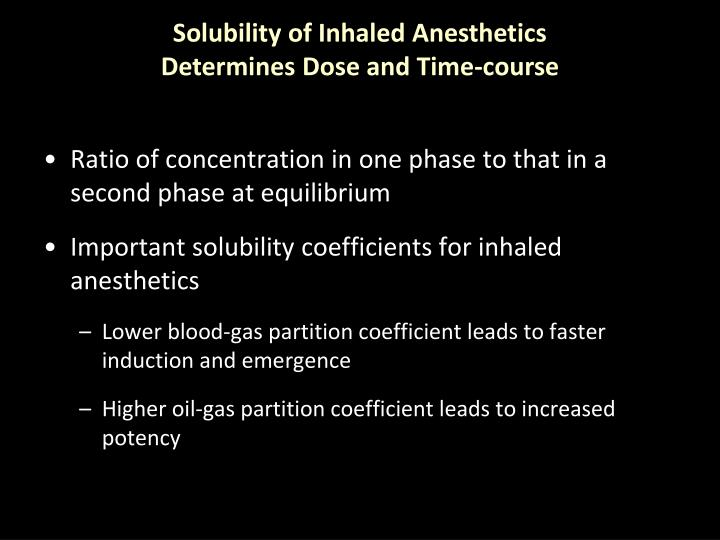 Solubility of Inhaled Anesthetics Determines Dose and Time-course
