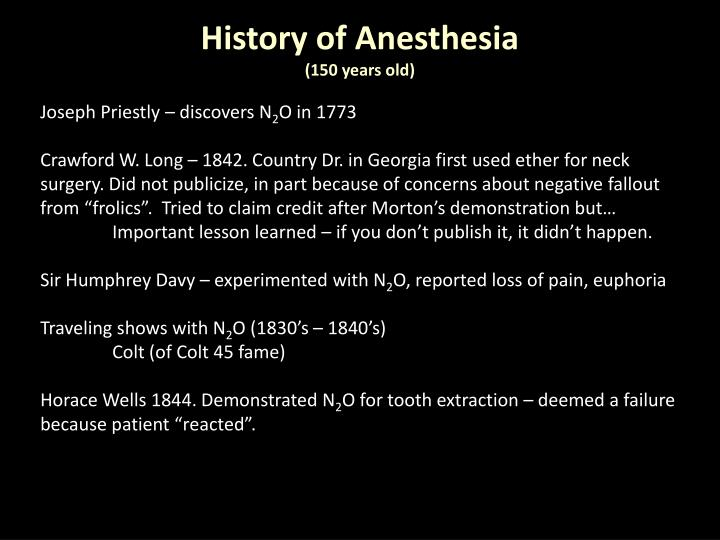 History of Anesthesia