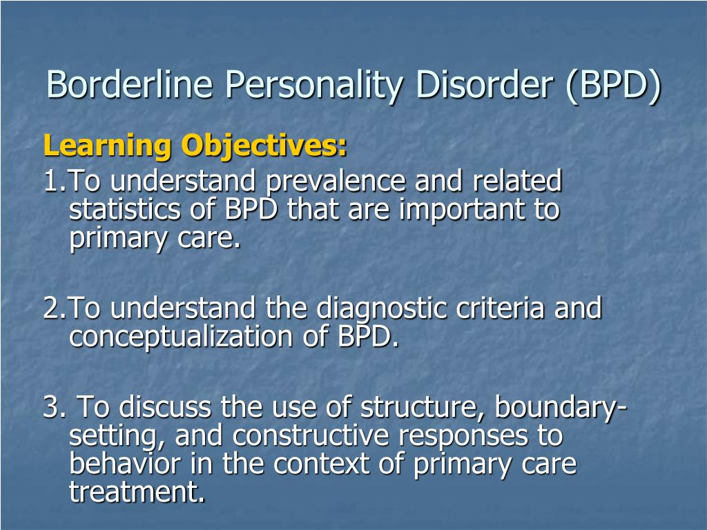 PPT - Borderline Personality Disorder in Primary Care PowerPoint