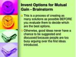 invent options for mutual gain brainstorm