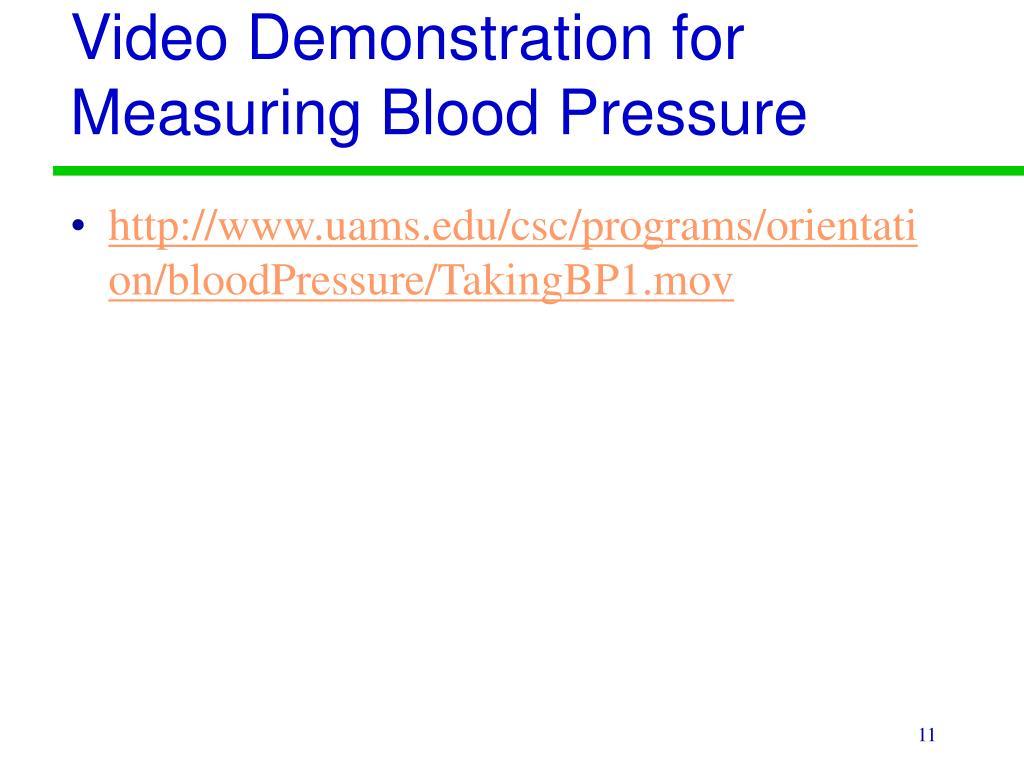 Video Demonstration for Measuring Blood Pressure