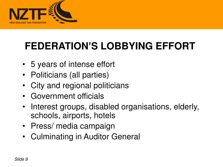 FEDERATION'S LOBBYING EFFORT