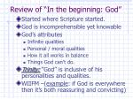 review of in the beginning god