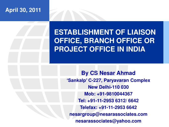 establishment of liaison office branch office or project office in india n.