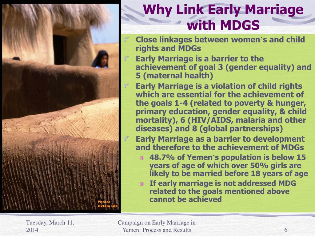 Why Link Early Marriage with MDGS