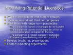 identifying potential licensees