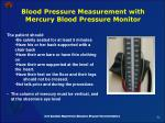 blood pressure measurement with mercury blood pressure monitor
