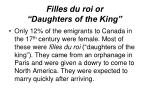 filles du roi or daughters of the king