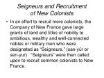 seigneurs and recruitment of new colonists