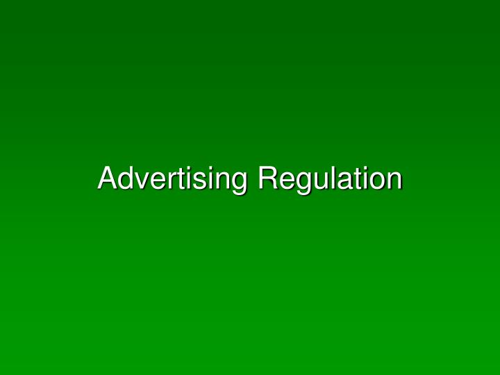 Advertising regulation