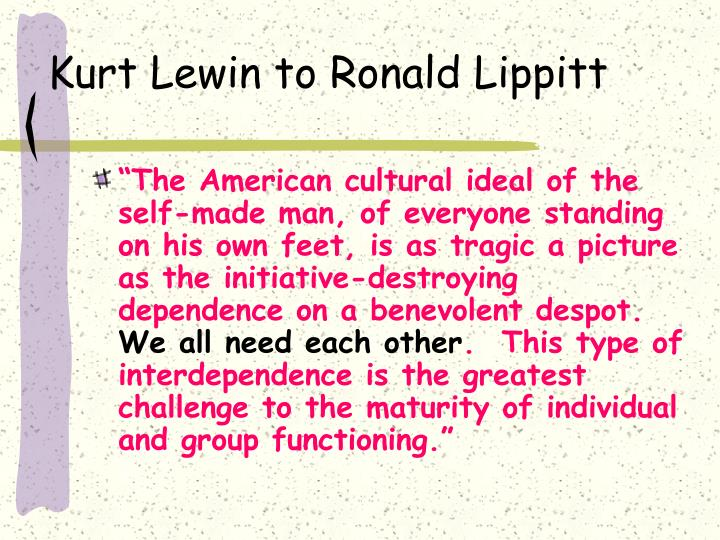 Kurt Lewin to Ronald Lippitt