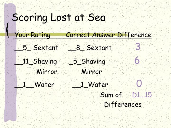 Scoring Lost at Sea
