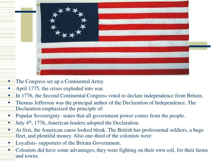 The Congress set up a Continental Army.